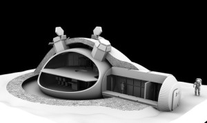 Space future -ESA-3D printed lunar base futuristic technology future moon base-01